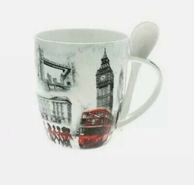 Old London Collage Theme Mug And Spoon Set Gift Boxed Souvenir Gift • 8.99£