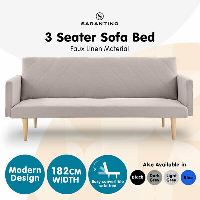 AU209 • Buy 3 Seater Sofa Bed Lounge Couch Modular Furniture Home Linen Fabric Beige