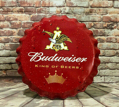$ CDN50.86 • Buy Large Budweiser Bottle Cap Aluminum Sign For Man Cave Bar Or Garage
