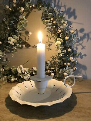 £8.99 • Buy Chamberstick Candle Holder White Metal H5.5cm W20cm