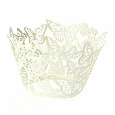 £4.99 • Buy 50pcs Cupcake Cake Wrap Wrapper Butterfly Laser Cut Wedding Party, Ivory