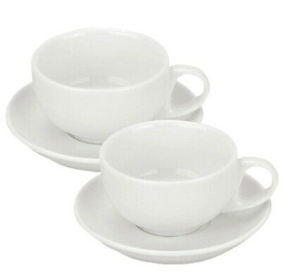 £13.99 • Buy Set Of 2 Pure White Porcelain Cappuccino Cups And Saucers 8oz 225ml