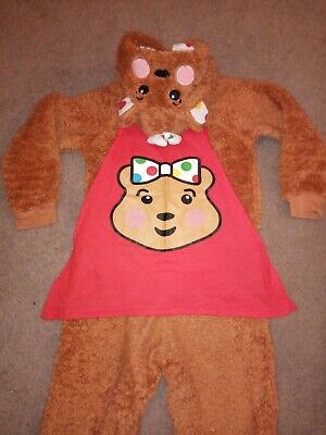 Children In Need Pudsey Fleece Hooded Blush Bear All In One Jumpsuit 5-6 Onesy • 22£