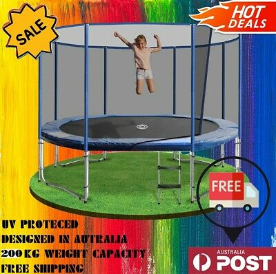 AU500 • Buy NEW! 6/8/10/12/14/16Ft Round Spring Trampoline W Ladder Safety Net, UV Protected