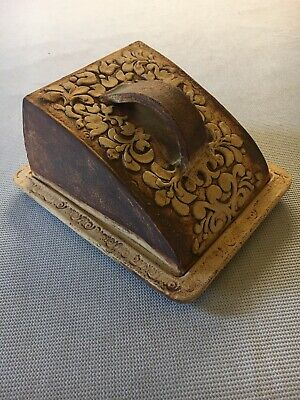 £25 • Buy Large Quantock Stoneware-Art Pottery-Floral Cheese Dish