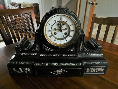 Antique 1860+ French Slate & Marble Mantle Clock In Very Good Condition • 205£