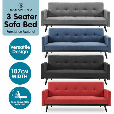 AU249 • Buy New 3 Seater Sofa Bed Lounge Futon Couch Modular Furniture Home Linen Fabric