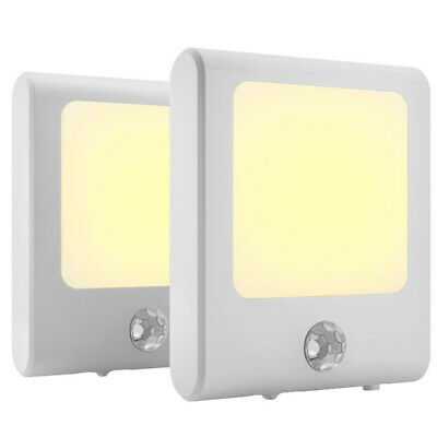 2x LED Night Light Plug In Motion Sensor Hallways Socket Auto Lamp EU Plug • 12.45£