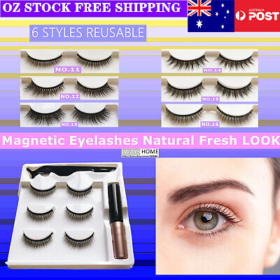 AU11.95 • Buy Natural Look Magnetic Eyelashes Reusable Makeup False Lashes Extensions Eyeliner