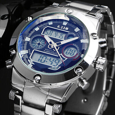 AU30.19 • Buy Men's Quartz Wrist Watch Black Dial Digital Stainless Steel Sport Outdoor Date