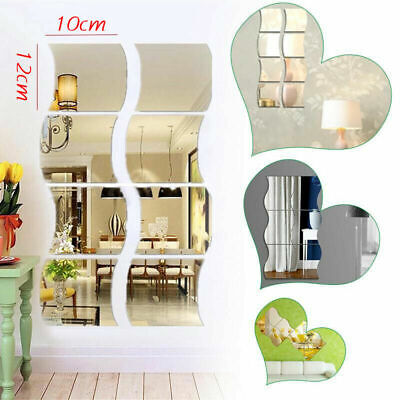 UK Glass Mirror Tiles Wall Sticker Square Self Adhesive Stick On Art Home Decor • 4.99£