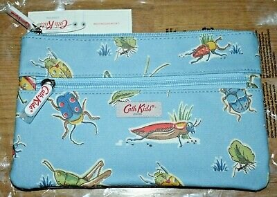 New Cath Kidston Kids Double Zip Pencil Case Pouch Cosmetic Bag Blue Bugs  • 12£