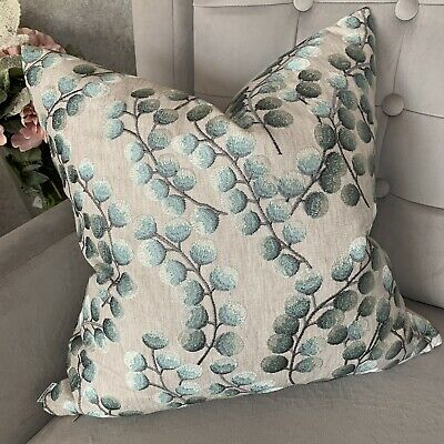 """Cushion Cover 16"""" John Lewis & Partners Fabric Kasper Embroidered & Duck Egg • 11.99£"""