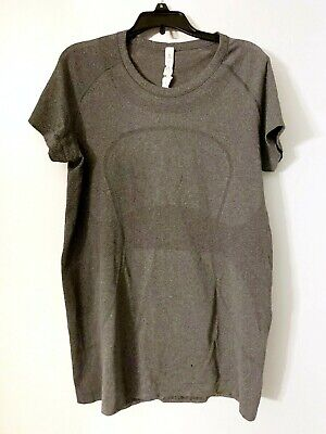 $ CDN13.99 • Buy Lululemon Athletica Grey Exercise T Shirt Logo Fitted Work Out Size 12 Aerated