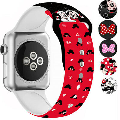 $ CDN10.38 • Buy Minnie For Apple Watch Strap Series SE 6 5 4 3 2 Mickey Mouse Soft Silicone Band