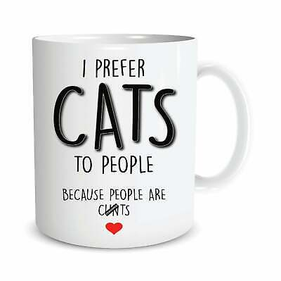 £11.99 • Buy Funny Rude Mugs I Prefer Cats To People Cat Lover Cat Mum Dad Birthday Gift M209