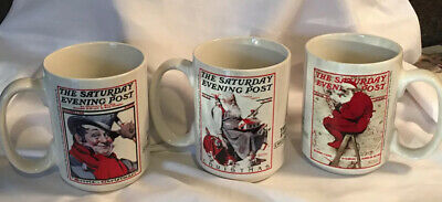 $ CDN15.57 • Buy Vintage Norman Rockwell The Saturday Evening Post Christmas Set Of 3 Coffee Mugs