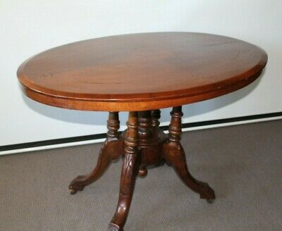 AU425 • Buy Antique Games Table With Birdcage Base , Marquetry Inlay Circa 1880 S