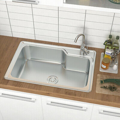 £45.54 • Buy Kitchen Sink Stainless Steel Single/Double Bowl Reversible Drainer + Waste