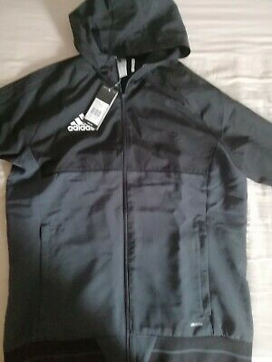 New Adidas Mens Black Dark Grey Climalite Hooded Zipped Track Top Size M • 28.99£