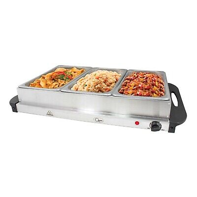 £39.95 • Buy Buffet Server Warming Tray Hotplate With 3 Sections Food Warmer Serving Station