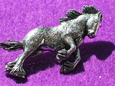 Shire Horse, Silver Pewter Pin Badge Brooch, Made In Uk. Gift Pouch. • 5.90£
