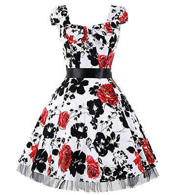 GRACE KARIN Women Vintage Short Sleeve Party Swing Dress CL4598-6 SIZE UK M  • 19£