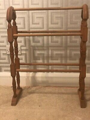 Victorian Style Wooden Free Standing Towel Rail Solid Pine Ideal For Repaint • 10£