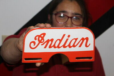 $ CDN73.17 • Buy Indian Motorcycle License Plate Topper Gas Oil Porcelain Metal Sign