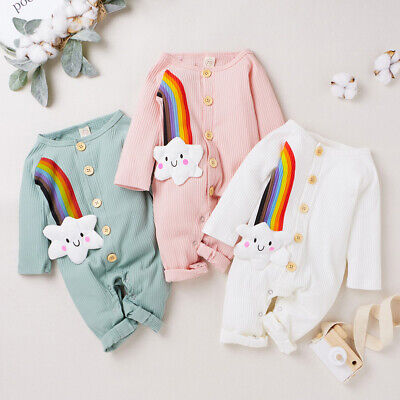 Newborn Baby Girls Rainbow Romper Outfits Infants Winter Jumpsuit Soft Clothes • 7.99£