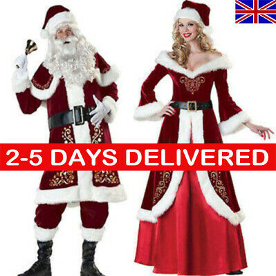 Santa Claus Costume Father Christmas Flannel Suit Adult FancyDress Outfit B0 LOT • 18.95£