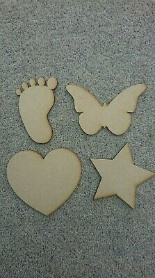 Wooden MDF Shapes Hearts Stars Butterfly Bunting Craft Embellishments Decoration • 2.99£