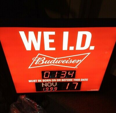 $ CDN136.53 • Buy NEW Budweiser We I.D. Light Up Sign Clock & Born Before Date NEW IN BOX MOTION