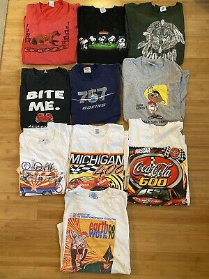 $ CDN26.05 • Buy Vtg 90s Y2K T Shirt Lot 10 Shirts USA Single Stitch Reseller Snoopy NASCAR