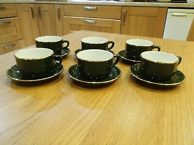 Apilco Green & Gold X6 Coffee Cups Saucers 9 Cm 200 Ml French Bistroware • 28£