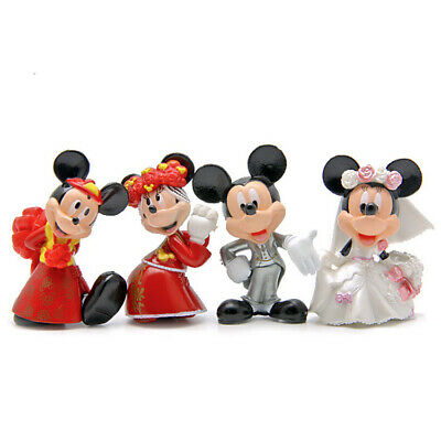 £5.99 • Buy 1 Set 4 Mickey Minnie Mouse Figure Figures Wedding Cake Topper Ornament Toy 7cm