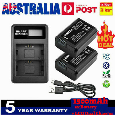 AU28.99 • Buy 2× NP-FW50 Battery+Dual Charger For SONY Alpha A7,SLT-A33,A35,A37,A55V, DSC-RX10