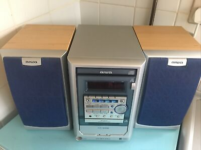 Aiwa XR-M120K Micro CD TAPE Deck Radio HiFi Shelf Stereo System • 20£