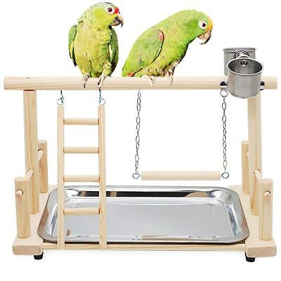 Parrot Playstand Bird Playground Wooden Perch Gym Stand Playpen Ladder With Toys • 17.99£