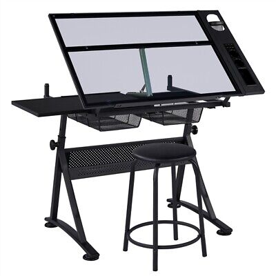 Adjustable Glass Drafting Table Art Craft Drawing Board W/ Stool 2 Drawers • 101.99£