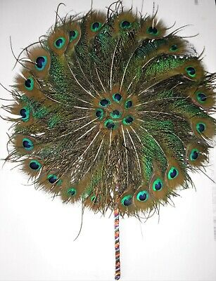 Peacock Feather Fan Double Sided Beautiful Item Perfect Condition • 25£