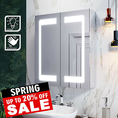 Led Mirror Cabinet Bathroom Illuminated With Infrared Sensor For Modern IP44 • 154.99£