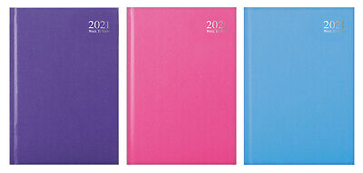 Pastel Colours - 2021 A4 Week To View Hardback Full Year Desk Diary (Any 1) • 6.09£