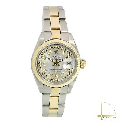 $ CDN4769.27 • Buy Rolex Lady Datejust Watch  Gold And Steel Silver String Diamond Oyster Band 26mm