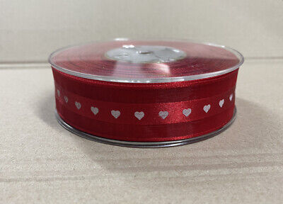 25 METERS (Roll) Red RIBBON, WHITE LOVE HEARTS - 25mm • 12.49£