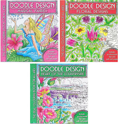 3 X COLOUR THERAPY Colouring Books - Doodle Design Book Art Therapy COUNTRYSIDE • 7.99£