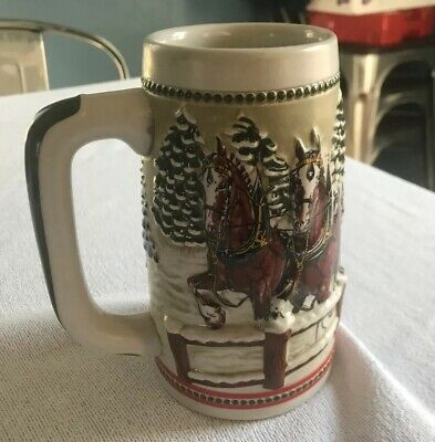 $ CDN22.20 • Buy Vintage 1980s Holiday Budweiser Beer Stein Iconic Clydesdale Winter Scene Mug