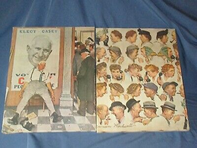 $ CDN6.26 • Buy Pair Vintage NORMAN ROCKWELL Prints On Canvas The Gossips & The Candidate