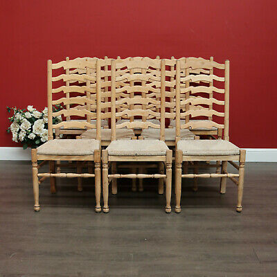 AU1750 • Buy Set Of 8 Dining Chairs, 8 Mid Century Italian Oak And Rush Seat Dining Chairs