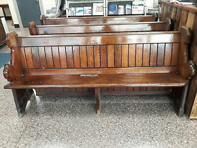 £360 • Buy Antique Pitch Pine Solid Church Pew Bench Settle 6ft Long